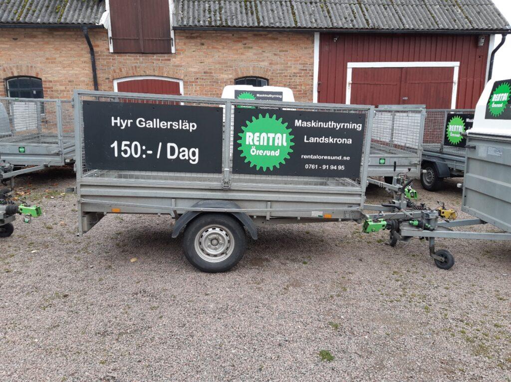 Gallersläp som hyrsläp hos Rental Öresund i Landskrona. Vi erbjuder veckohyra och månadshyra av släpvagnar.
