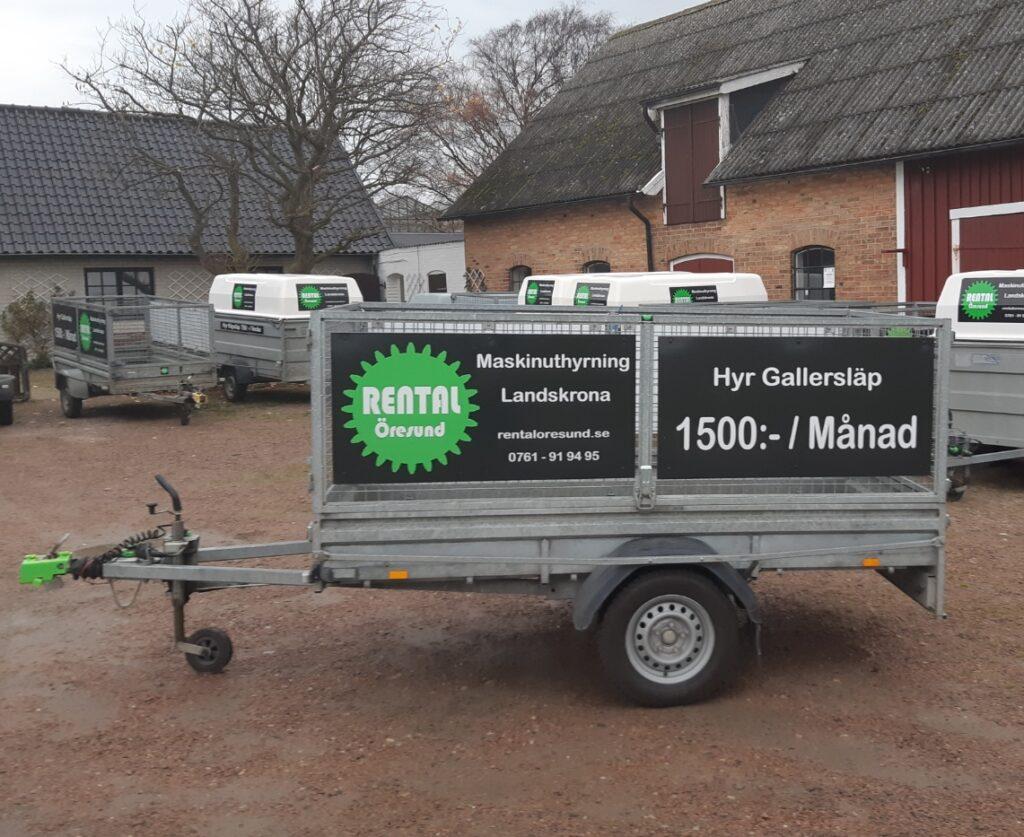 Uthyrning av gallersläp hos Rental Öresund i Landskrona. Veckohyra och månadshyra av släpvagnar.