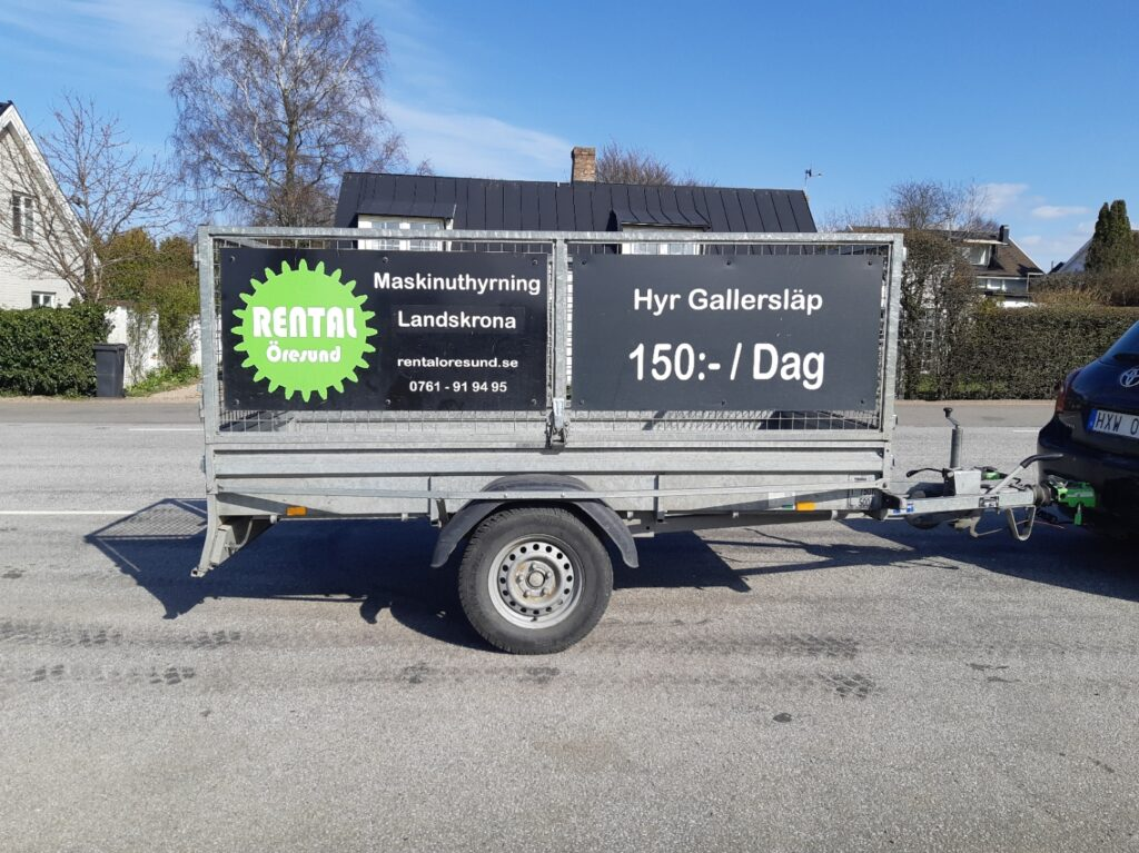 Rental Öresund släpvagnsuthyrning fanns tidigare i Glumslöv nu i landskrona. Hyr gallersläp långtidsuthyrning, vecka och månad.