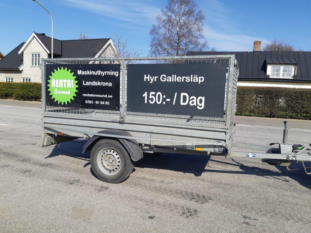 Kunder från Saxtorp och Saxtorpsskogen hyr gallersläp hos Rental Öresund Släpvagnsuthyrning i Landskrona.